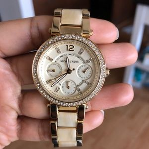 NEW Michael Kors Bezel gold- tone watch